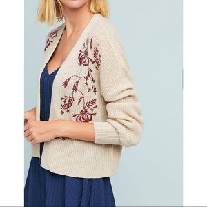 Anthropologie Sz M Embroidered Floral Cardigan EUC